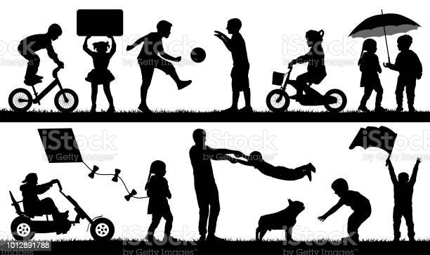 Child different events set children playing outdoor silhouette vector vector id1012891788?b=1&k=6&m=1012891788&s=612x612&h=5bgnx1legfdqydeiwrqpf xujd4gtzlrmnwrnevpep4=