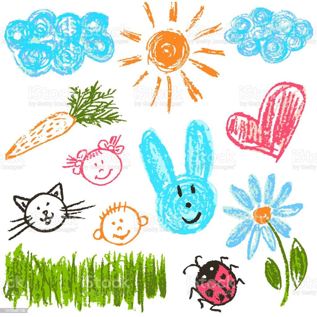 兒童繪圖。包裝、明信片、包裝、蓋的設計項目 - 免版稅一組物體圖庫向量圖形