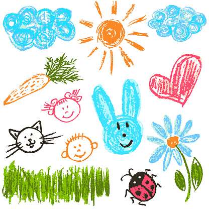 Child drawing. Design elements of packaging, postcards, wraps, covers