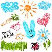 Children's drawing with colored wax crayons. Clouds, sun, hare, carrot, girl, boy cat flower heart grass ladybug