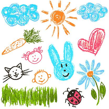 兒童繪圖包裝明信片包裝蓋的設計項目向量圖形及更多一組物體圖片
