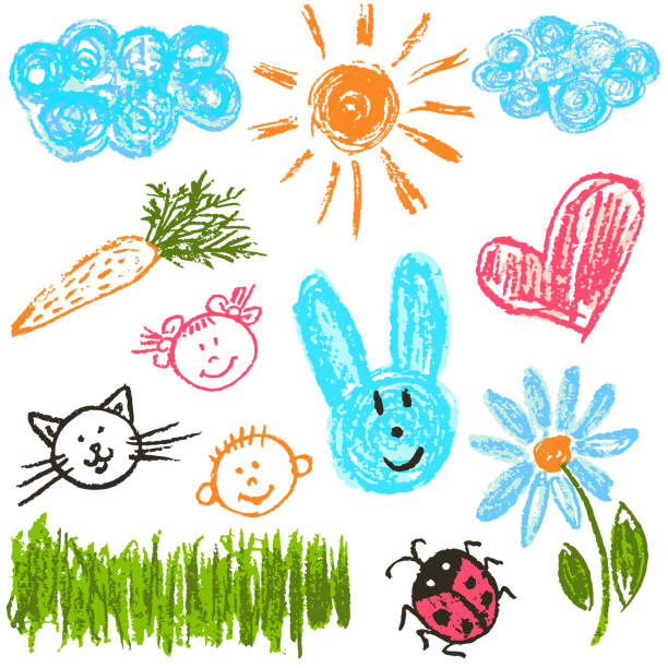 child drawing. design elements of packaging, postcards, wraps, covers - kids stock illustrations, clip art, cartoons, & icons