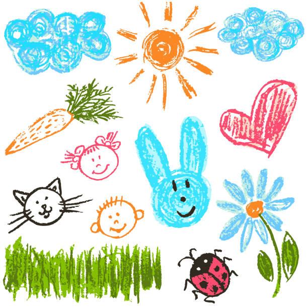 ilustrações de stock, clip art, desenhos animados e ícones de child drawing. design elements of packaging, postcards, wraps, covers - criança