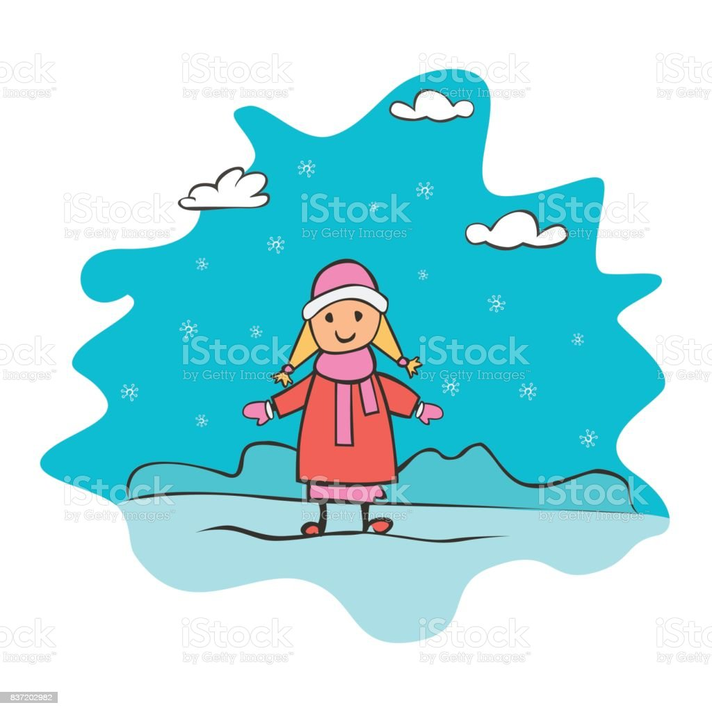 Child Drawing Girl Greeting Card With New Year And Christmas Drawing