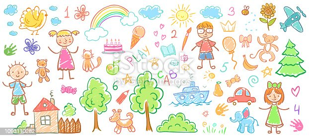 istock Child drawings. Kids doodle paintings, children crayon drawing and hand drawn kid vector illustration 1093110282