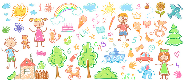 Child drawings. Kids doodle paintings, children crayon drawing and hand drawn kid vector illustration