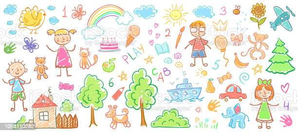 Child drawings kids doodle paintings children crayon drawing and hand vector id1093110282?b=1&k=6&m=1093110282&s=612x612&h=akhxoqz0td8z0zaxgr67zdjxfwmp23oscnej eoebs4=