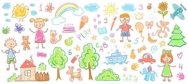 kind-zeichnungen. kinder doodle gemälde, kinder kreide zeichnung und handgezeichneten kind vektor-illustration - kind stock-grafiken, -clipart, -cartoons und -symbole