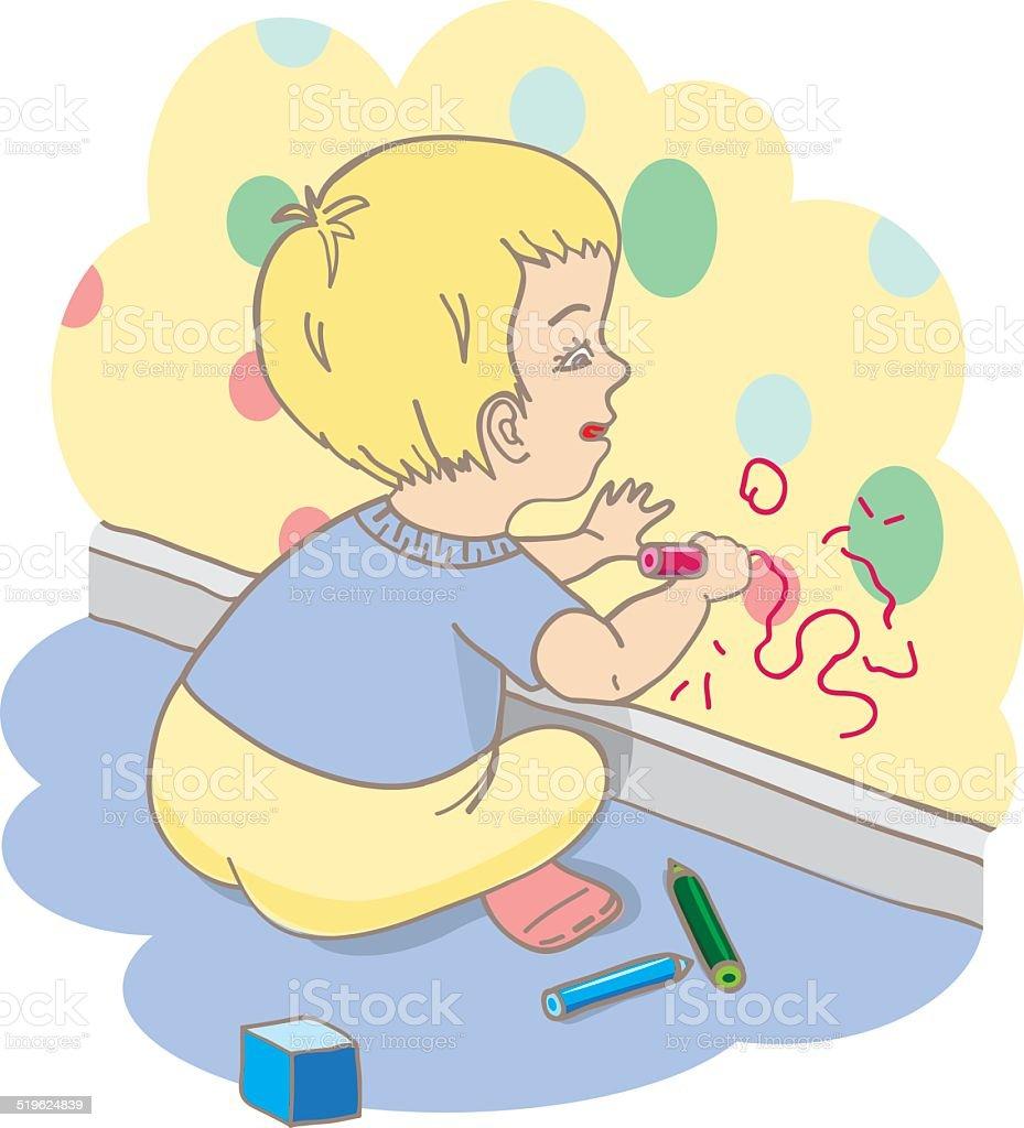 Child Draws On The Wall stock vector art 519624839 | iStock