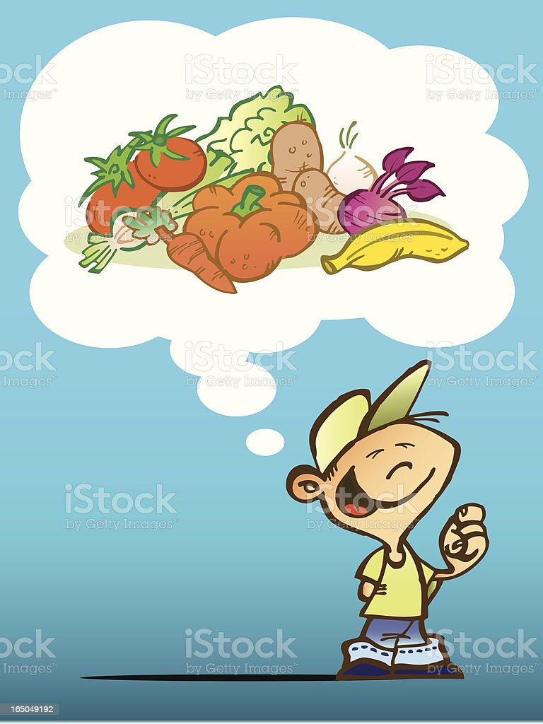 child dreaming with fruits and vegetables stock vector art