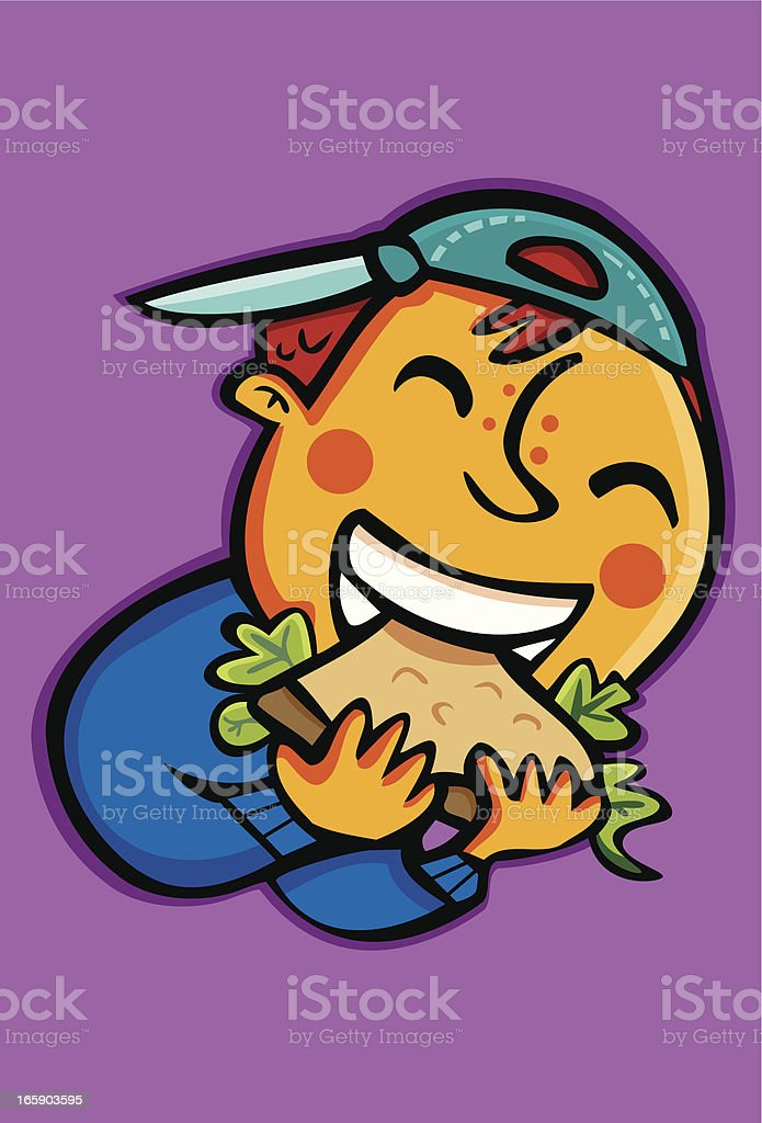 Child eating a sandwich. vector art illustration