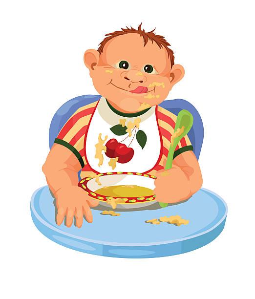 stockillustraties, clipart, cartoons en iconen met child eating breakfast - baby dirty
