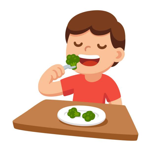 ilustrações de stock, clip art, desenhos animados e ícones de child eating broccoli - eating