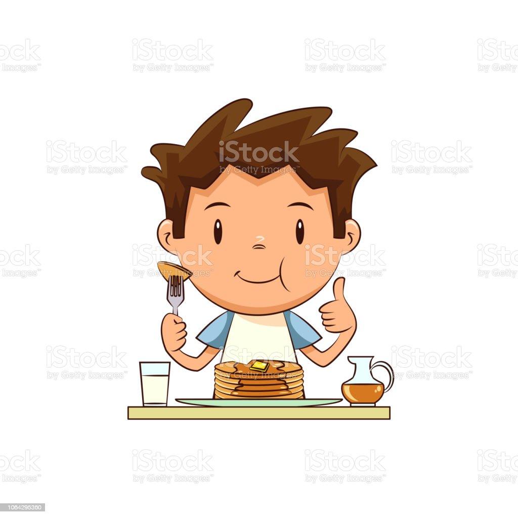 Kind Essen Pfannkuchen Stock Vektor Art Und Mehr Bilder Von Clipart