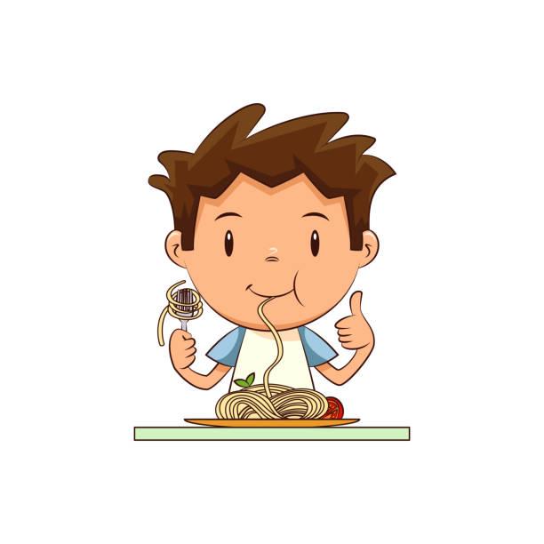 Best Cute Little Boy Cartoon Eats Vegetable Using Fork ...