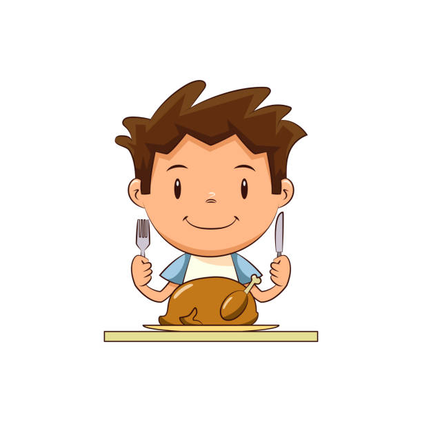 illustrazioni stock, clip art, cartoni animati e icone di tendenza di child eating turkey meat - galateo a tavola