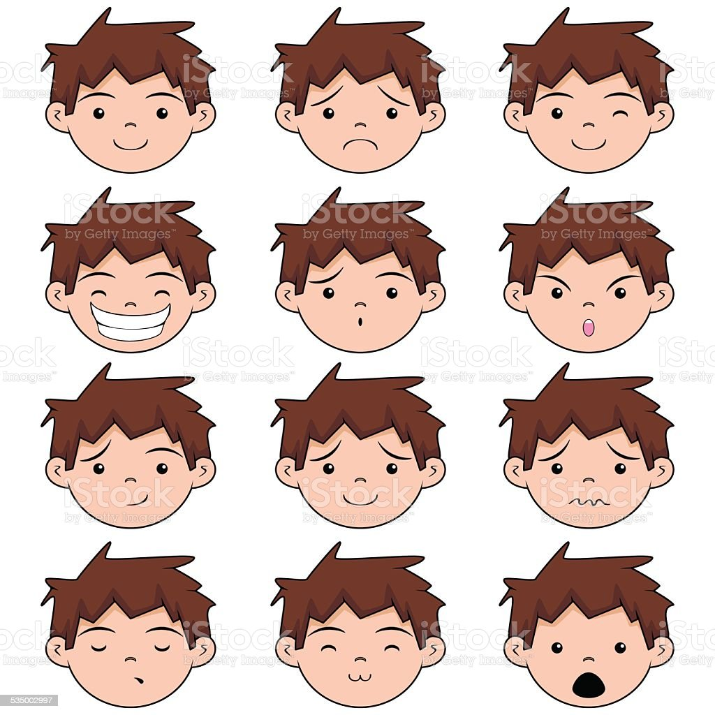 Child face expressions vector art illustration