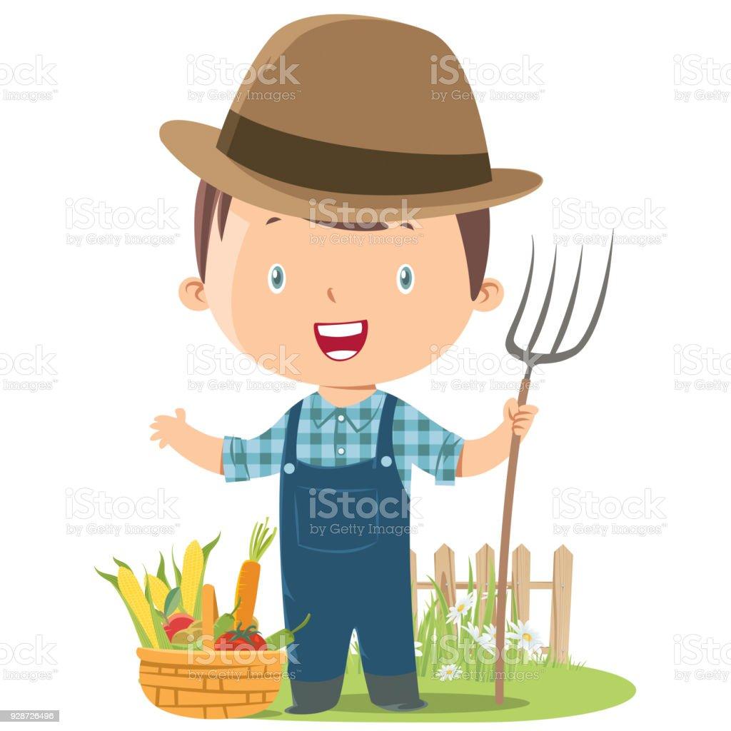 granjero de niño - ilustración de arte vectorial