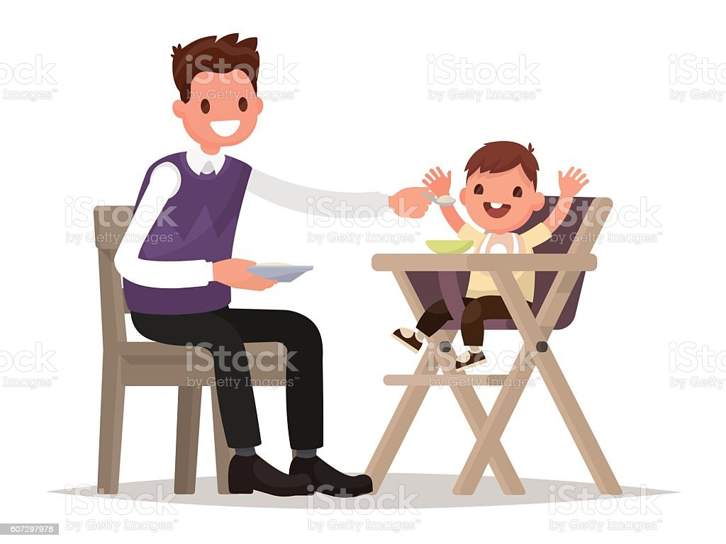 Child Feeding. Father is feeding baby sitting in the highchair. vector art illustration  sc 1 st  iStock & Royalty Free High Chair Clip Art Vector Images u0026 Illustrations - iStock