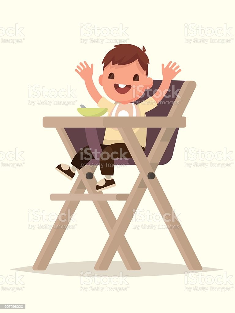 Child Feeding. Happy kid sitting on the highchair. Vector vector art illustration