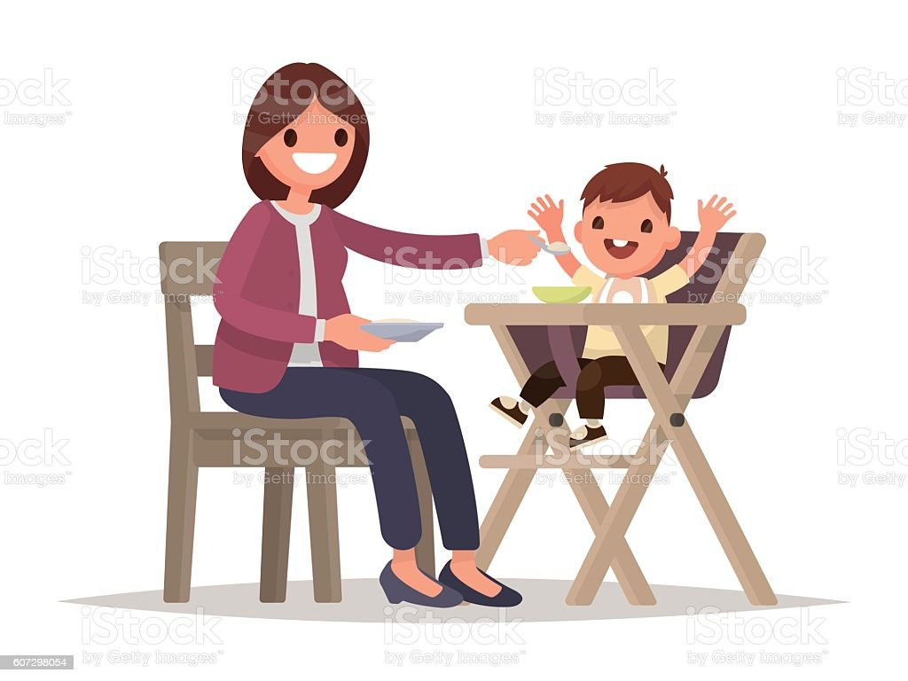 Child Feeding. Mother feeds the baby sitting in the highchair. vector art illustration
