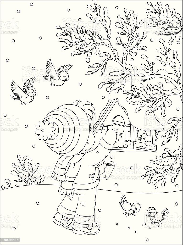 Child feeds birds vector art illustration
