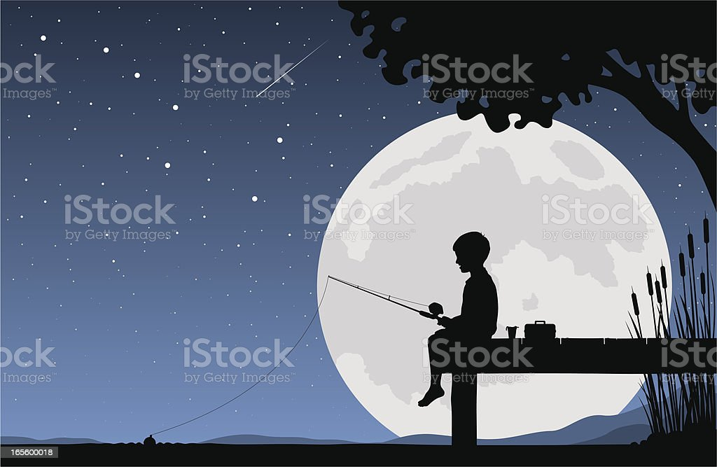 Child fishing by moonlight royalty-free child fishing by moonlight stock vector art & more images of boys