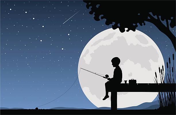 子供ジョンフィッシングで月光 ベクターアートイラスト