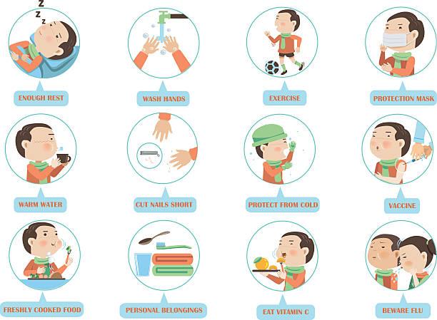 kind grippe prevention - grippeimpfung stock-grafiken, -clipart, -cartoons und -symbole