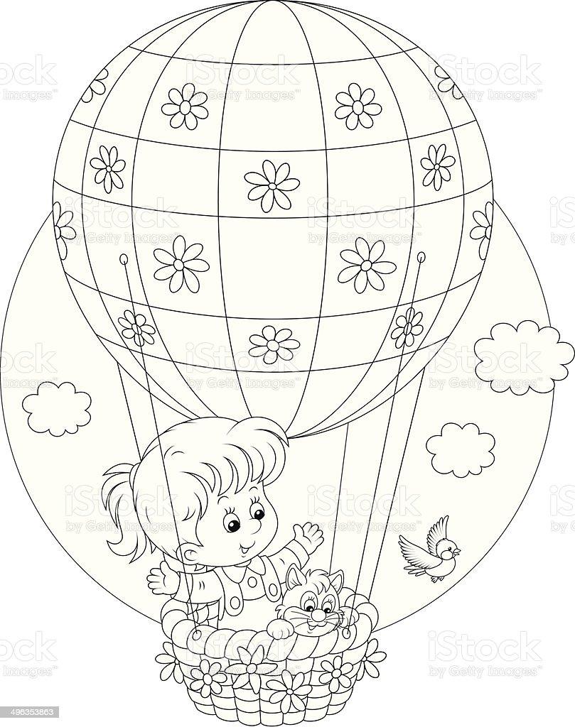 Ilustración De Niño Volar En Globo Aerostático Y Más Vectores Libres