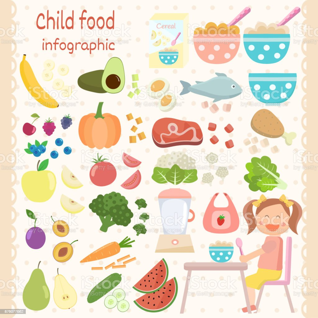 Child food icons set. Infant food infographic.  Vegetables, fruits, meat, fish, cereal, milk, eggs. vector art illustration