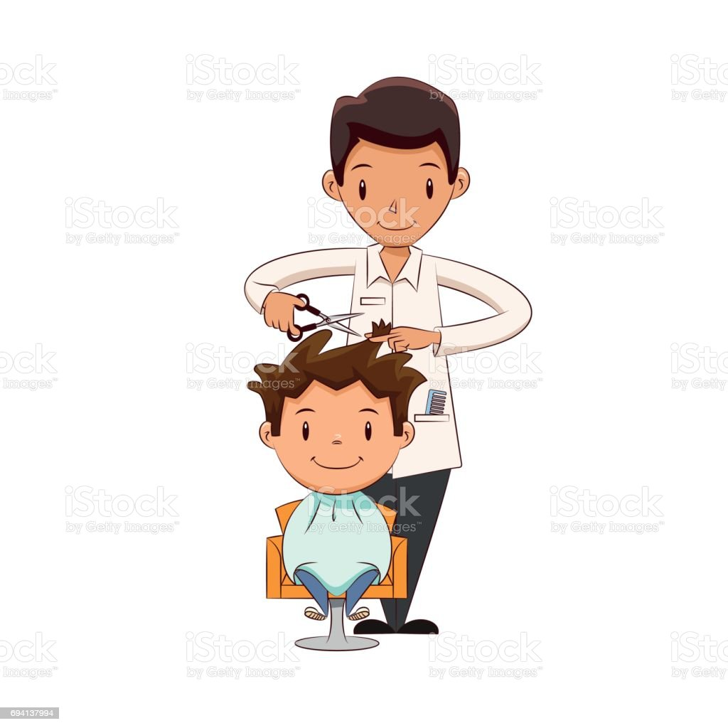 Child Getting A Haircut Stock Vector Art & More Images of ...
