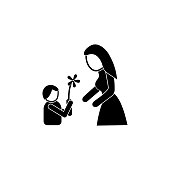child gives flowers mother icon. Element of mother day for mobile concept and web apps. Detailed child gives flowers mother icon can be used for web and mobile. Premium icon