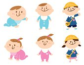 The vector illustration which drew a child's growth gradually.hand-drawn.