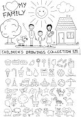 Child hand drawing illustration of happy family with kids near home, dog, sun. Line graphic sketch image of children pencil painting in vector doodles set: sweets, lollipop, food, baby toys, animals.
