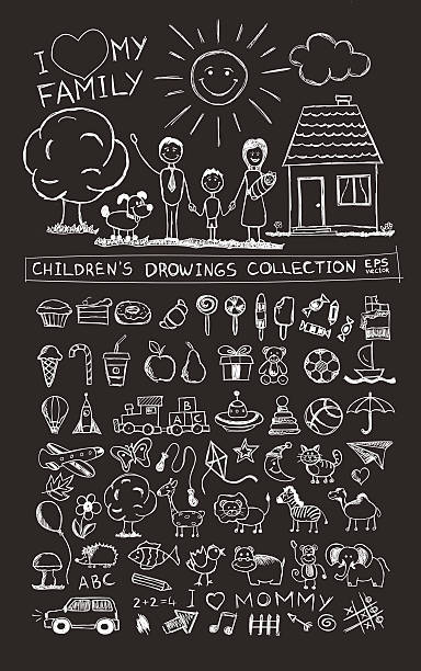 Child hand drawing illustration. School blackboard sketch image vector doodles Child hand drawing illustration of happy family with kids near home, sun, dog. School blackboard sketch image of children pencil painting vector doodles set: sweets, lollipop, food, baby toys, animals candy drawings stock illustrations
