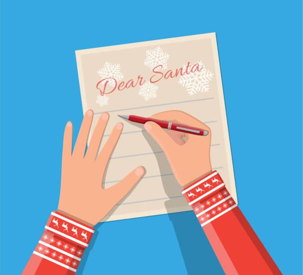 kind hand stift brief an den weihnachtsmann schreiben. - wunschkinder stock-grafiken, -clipart, -cartoons und -symbole