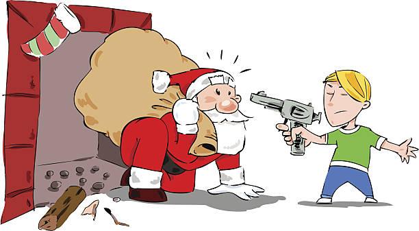 illustrazioni stock, clip art, cartoni animati e icone di tendenza di bambino mano con un fucile di santa sorpreso.  scena di natale. - santa claus tiptoeing