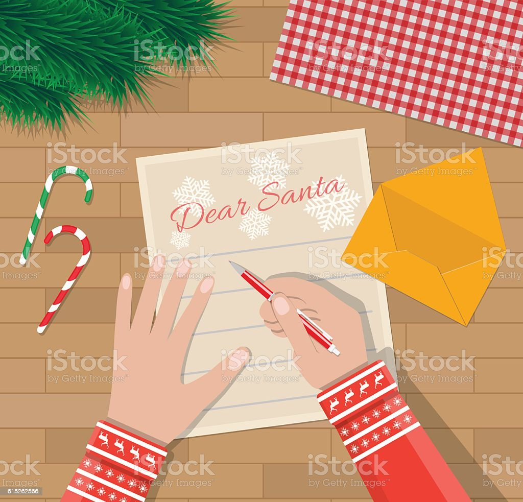 Child Hand With Pen Writing Letter To Santa Claus Stock Vector Art