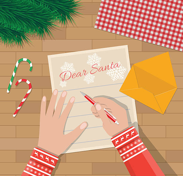 child hand with pen writing letter to santa claus - wunschkinder stock-grafiken, -clipart, -cartoons und -symbole