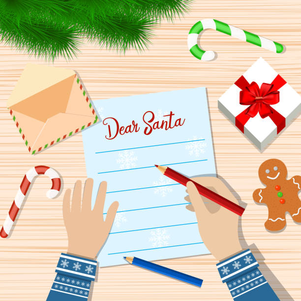 child hand with pen writing letter to santa claus. - wunschkinder stock-grafiken, -clipart, -cartoons und -symbole