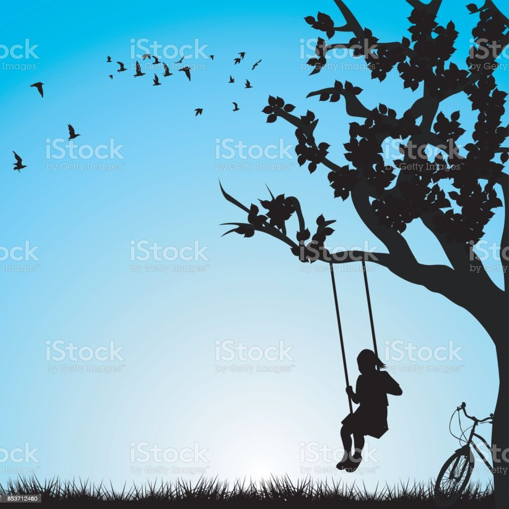 Child having fun on a swing outdoor vector art illustration
