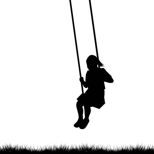 ilustrações de stock, clip art, desenhos animados e ícones de child having fun on a swing outdoor - balouço