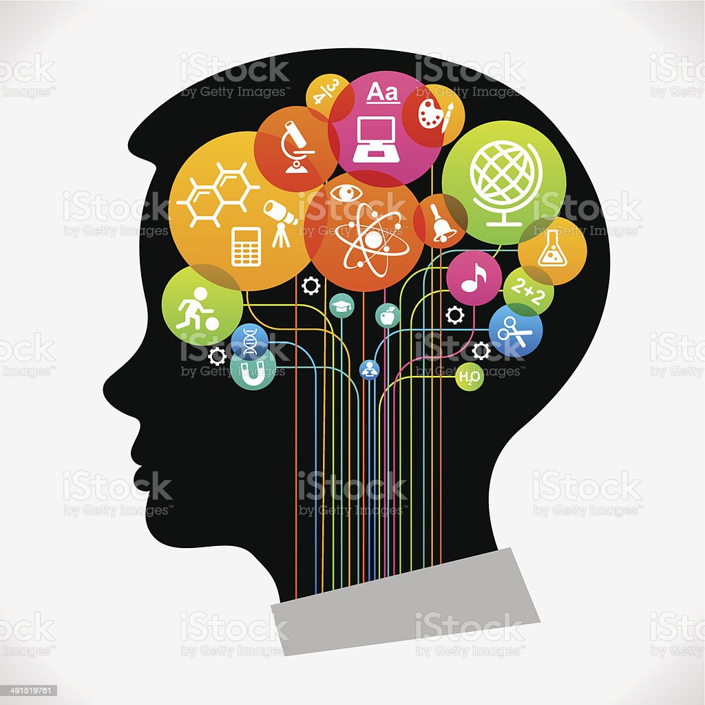 Child head and education icons The concept of modern education. .Infographic Template with silhouette child head, abstract brain, science and education icons The generation of knowledge. File is saved in AI10 EPS version. This illustration contains a transparency Abstract stock vector