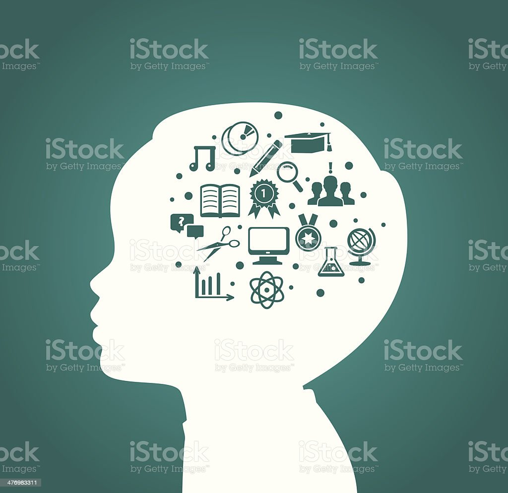 Child head with education icons - Royalty-free Abstract stock vector