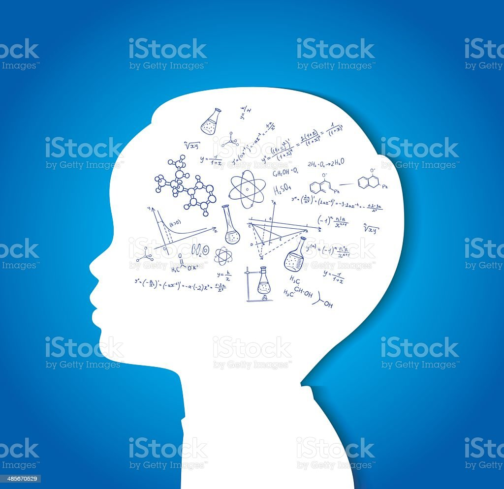 Child head with education icons vector art illustration