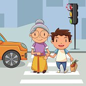 Child helping old woman cross the street, pedestrian safety, good kid, assistance, stop car, red traffic light, happy cartoon character, crosswalk, city, vector illustration