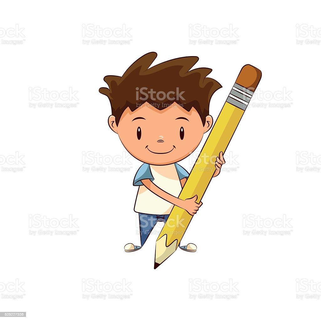 Child holding big pencil vector art illustration