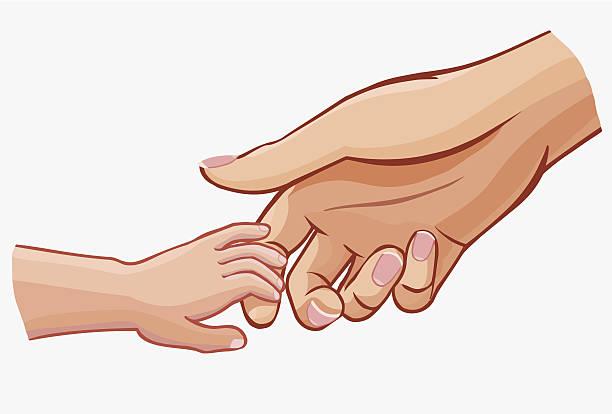 illustrazioni stock, clip art, cartoni animati e icone di tendenza di bambino tenendo la mano di donna, illustrazione vettoriale isolato su bianco - mano donna dita unite