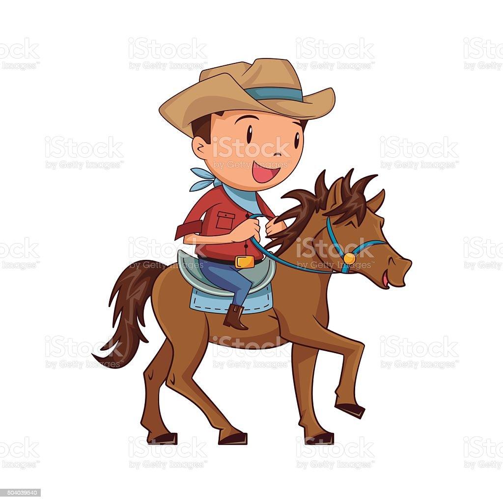 Child horseback riding vector art illustration